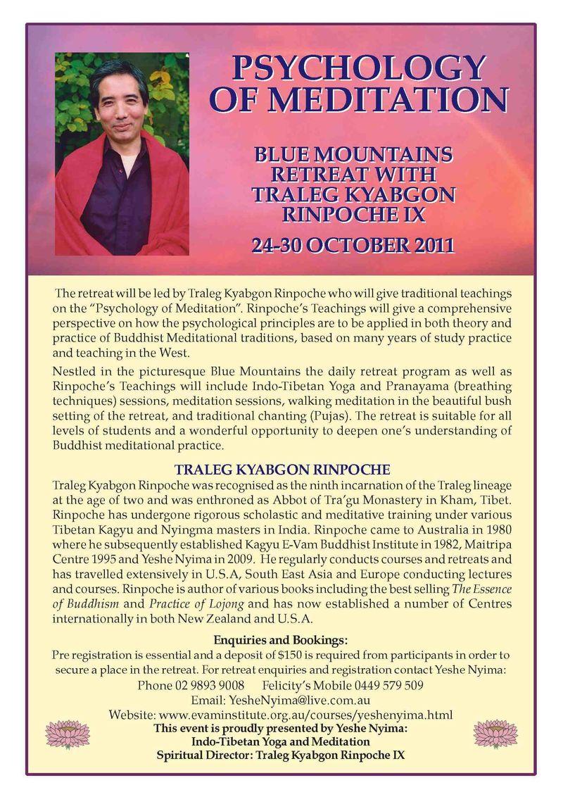 Psychology of Meditation Retreat October 2011 res
